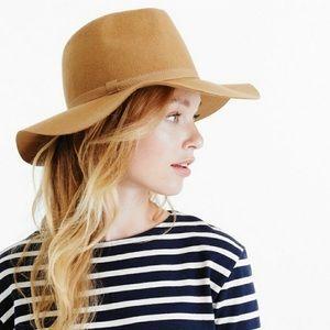 J Crew Women's Tan Brimmed Italian Wool Hat NWT